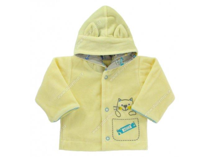 Sametový kabátek s kapucí EWA PASTELS - žlutý