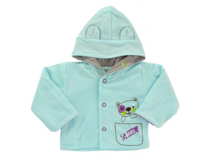 Kabátek s kapucí EWA PASTELS - tyrkysový