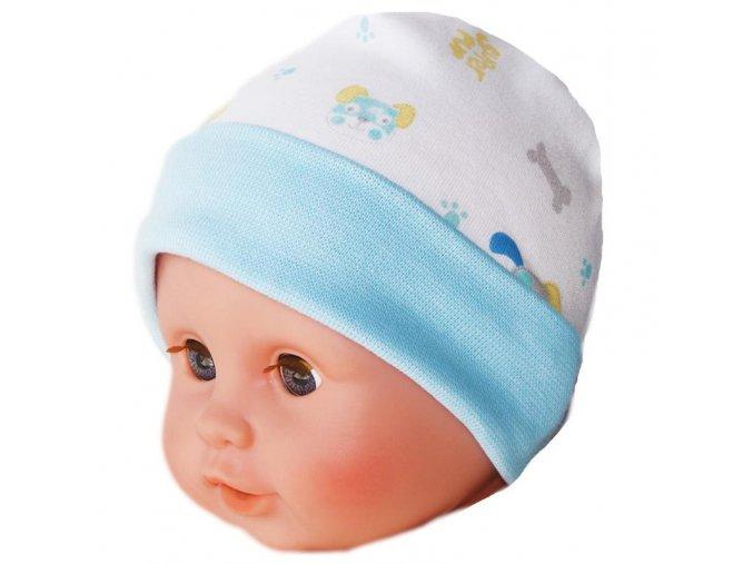 Bavlněná čepička EWA - SUPER PUP modrá
