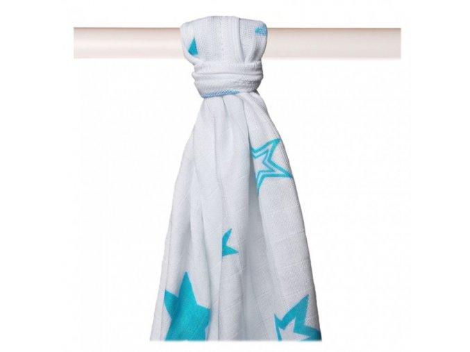Bambusové pleny XKKO®BMB Turquoise Stars 90x100cm - 1ks