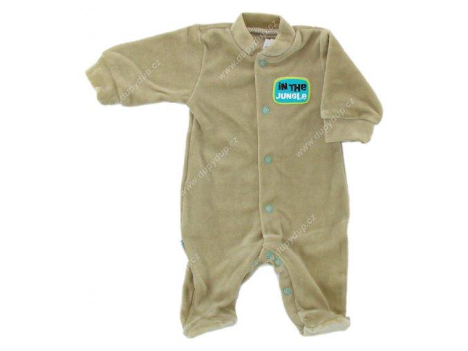 Sametový kojenecký overal EWA NEON - sv. hnědý
