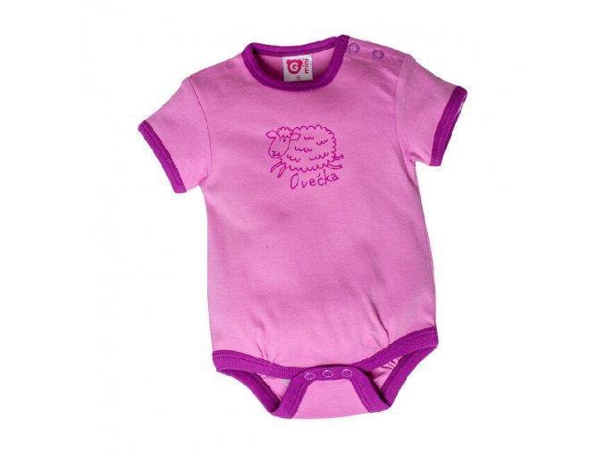 G-mini kojenecké body s krátkým rukávem G5103 růžové
