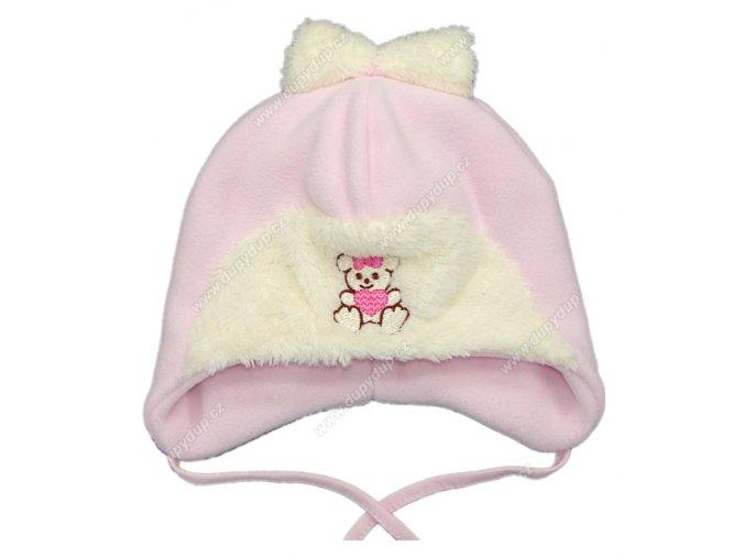 Zimní kojenecká čepice sv. růžová