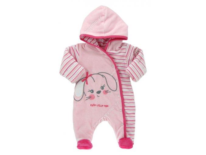 Vyteplený kojenecký overal EWA Bunny růžový