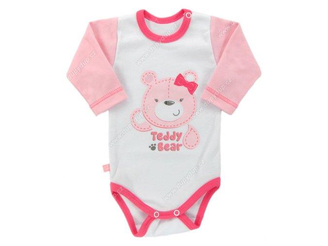 Kojenecké body s dlouhým rukávem EWA Teddy bear růžové