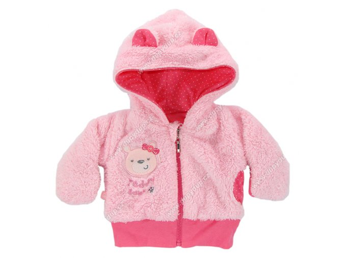 Vyteplený kojenecký kabátek EWA Teddy Bear růžový