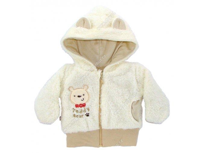 Vyteplený kojenecký kabátek EWA Teddy Bear béžový