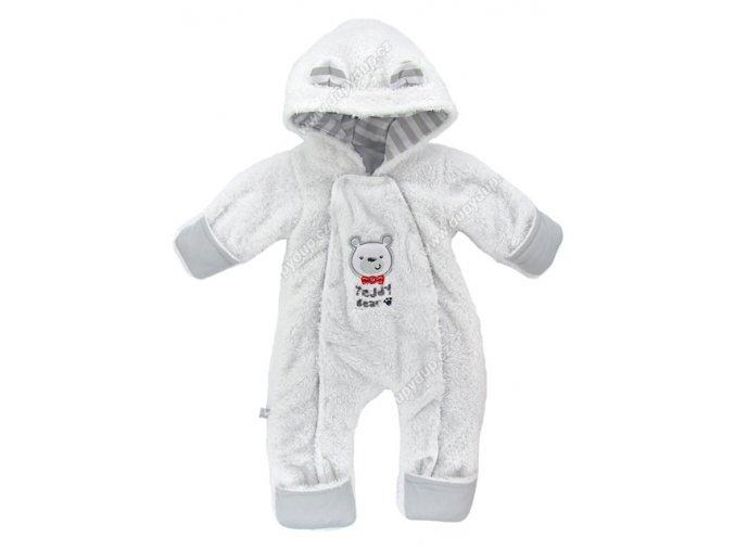 Vyteplený kojenecký overal EWA Teddy Bear šedý