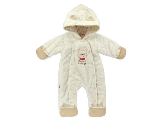 Vyteplený kojenecký overal EWA Teddy Bear béžový