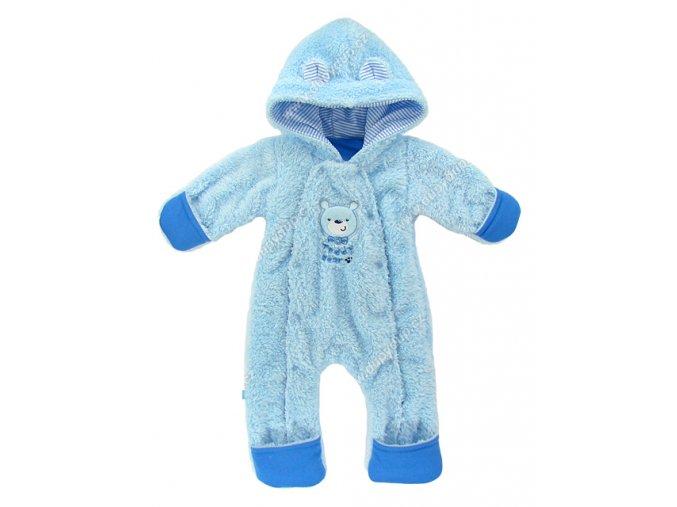 Vyteplený kojenecký overal EWA Teddy Bear modrý
