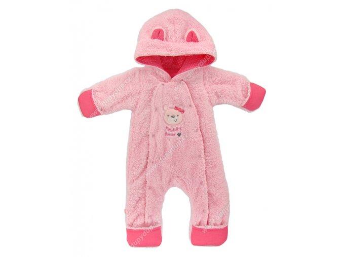 Vyteplený kojenecký overal EWA Teddy Bear růžový