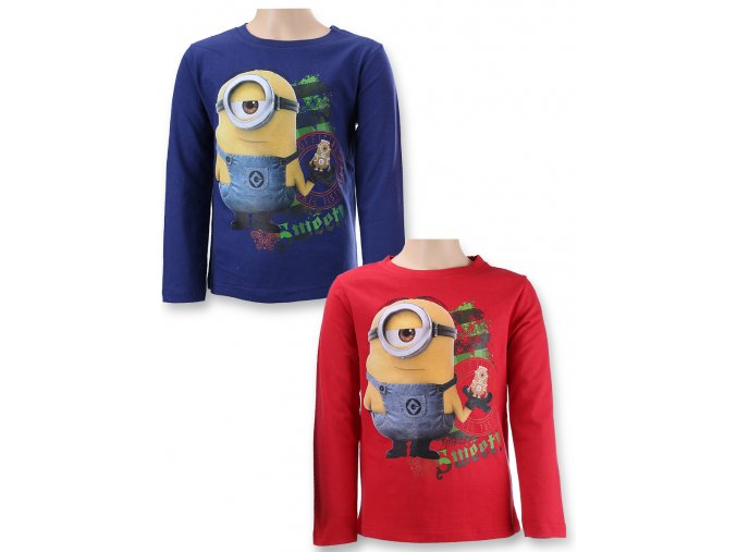 Dětské tričko s dlouhým rukávem Mimoni červené