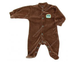 Sametový kojenecký overal EWA NEON - hnědý