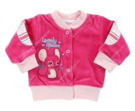 Sametový kojenecký kabátek EWA CIRCUS růžový