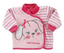 Sametový kojenecký kabátek EWA Bunny růžový