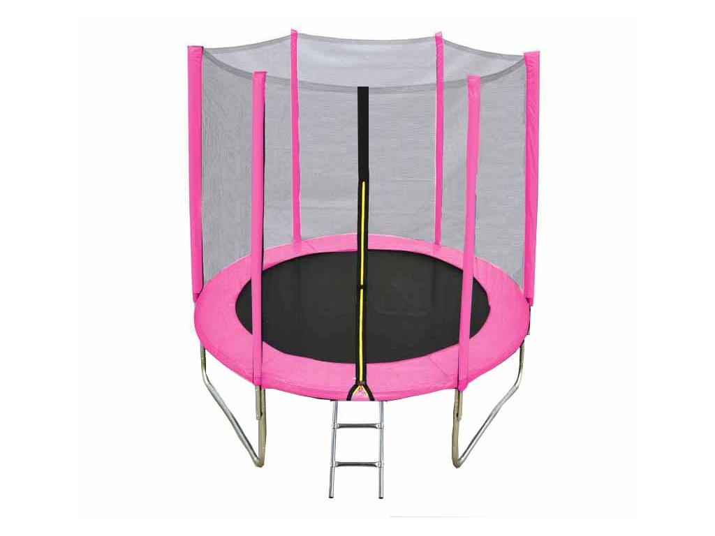 Pink trampoline with ladder