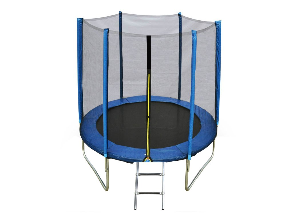 Blue trampoline with ladder