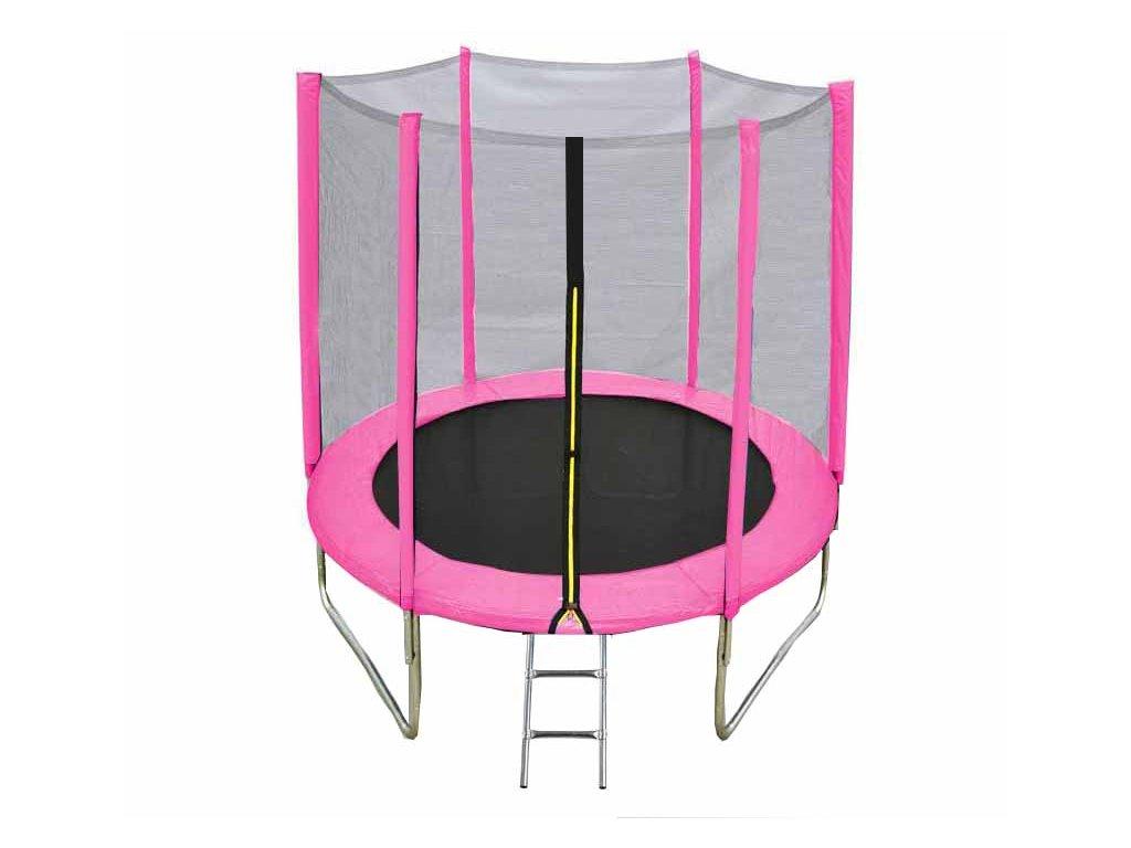 Pink trampoline with ladder