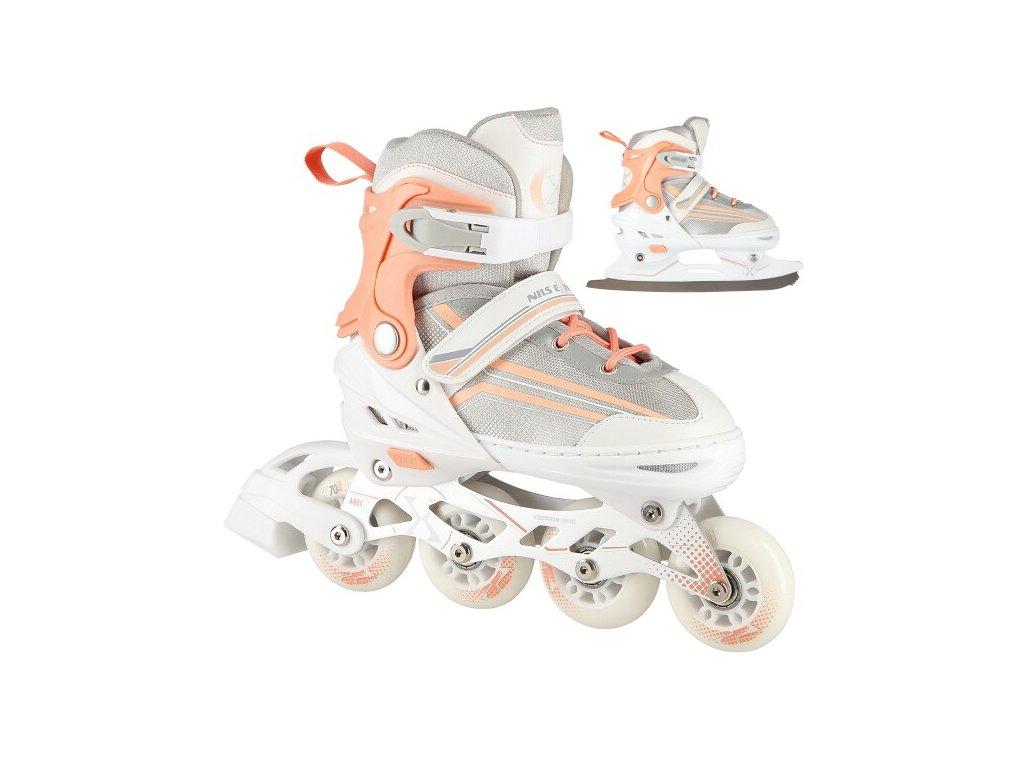 Detské korčule Nils Extreme 3v1 NH18190 bielo-ružové