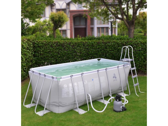 Bazén Frame Pool Passaat Grey 400 x 207 x 122 cm + piesková filtrácia