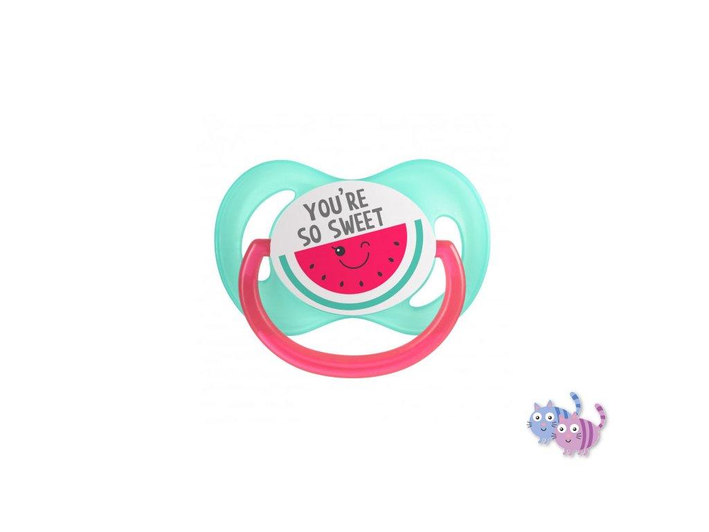 Canpol babies Dudlík 18m+ silikonový symetrický SO COOL růžový