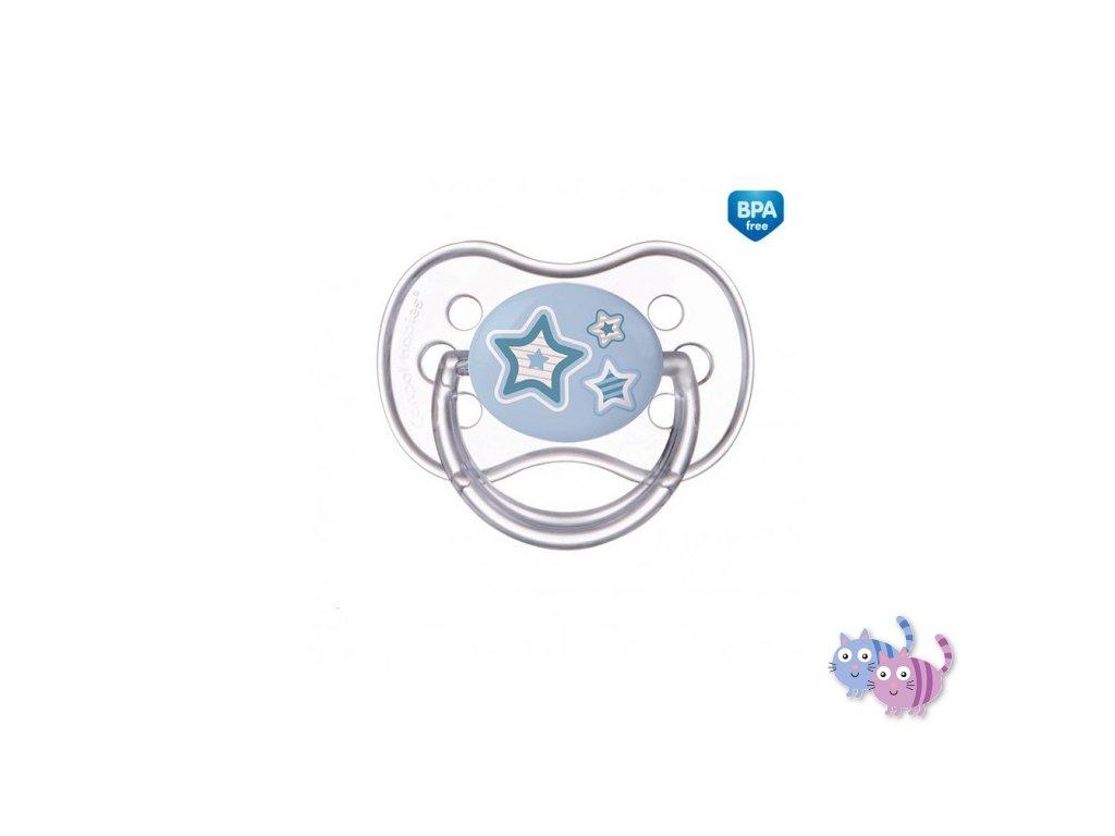 Canpol babies Dudlík 18m+ silikonový symetrický NEWBORN BABY modrý