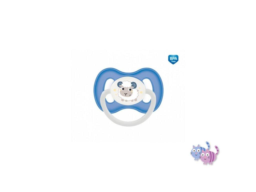 Canpol babies Dudlík 6-18m silikonový symetrický BUNNY & COMPANY modrý