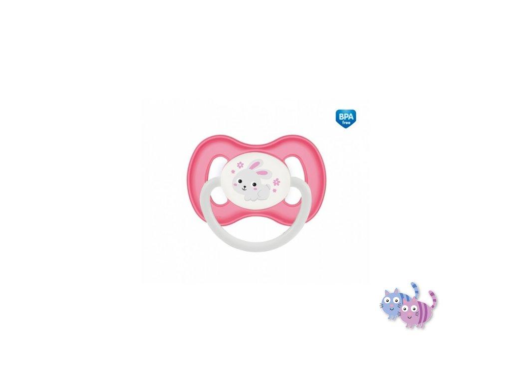 Canpol babies Dudlík 6-18m silikonový symetrický BUNNY & COMPANY růžový