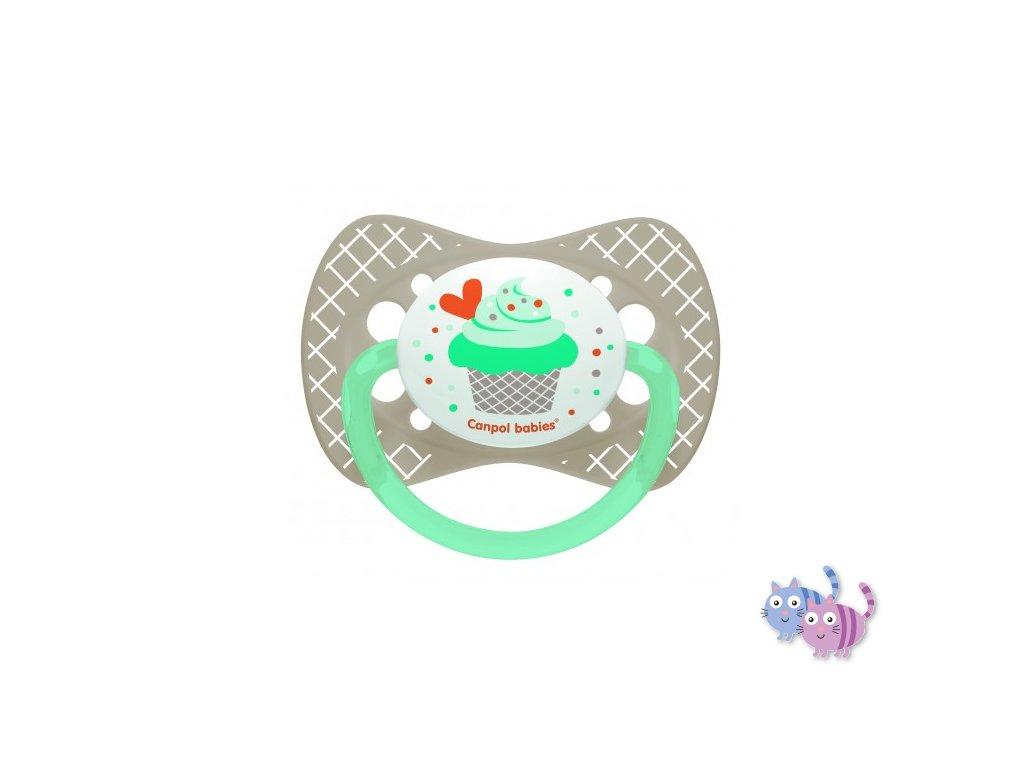 Canpol babies Dudlík silikonový symetrický 6-18m CUPCAKE šedý