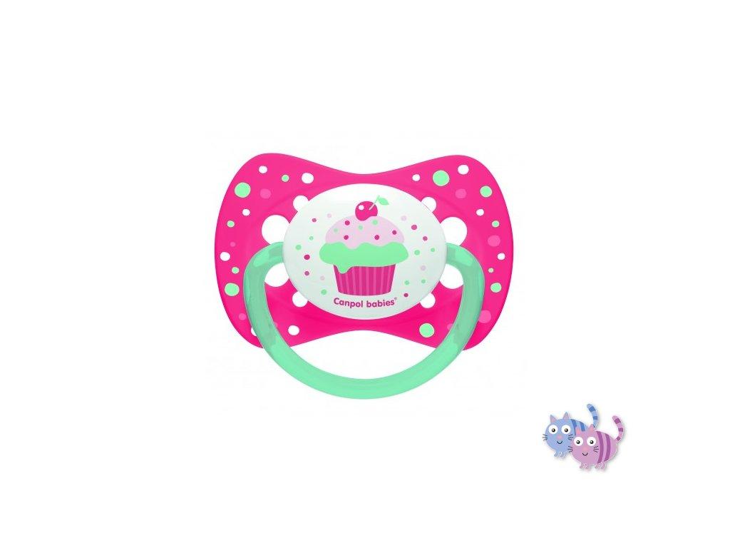 Canpol babies Dudlík silikonový symetrický 6-18m CUPCAKE růžový