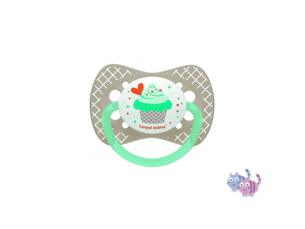 Canpol babies Dudlík silikonový symetrický 18m+ CUPCAKE šedý