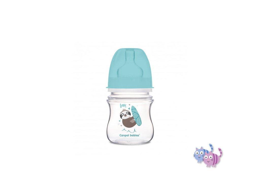 Canpol babies Lahev se širokým hrdlem EXOTIC ANIMALS 120 ml modrá