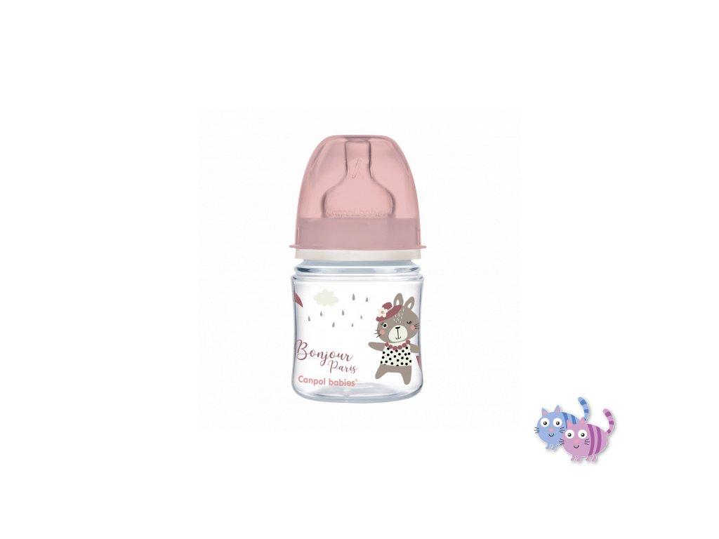 Canpol babies Lahev se širokým hrdlem BONJOUR PARIS 120ml růžová