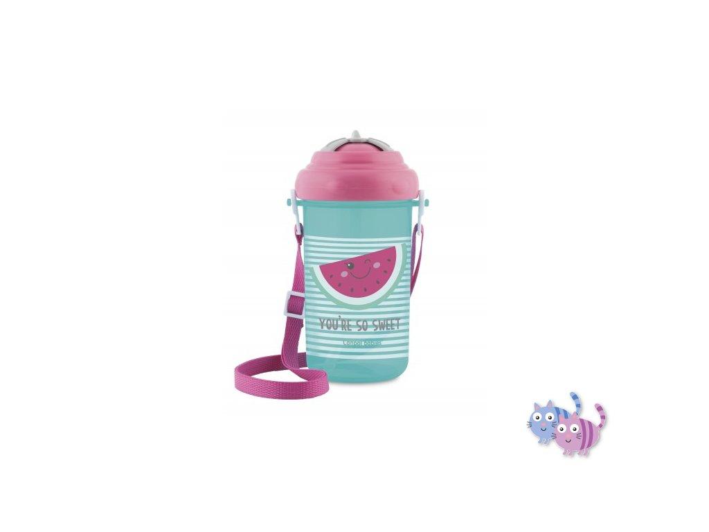 Canpol babies Cestovní sportovní láhev se slámkou a víčkem SO COOL Meloun 350ml