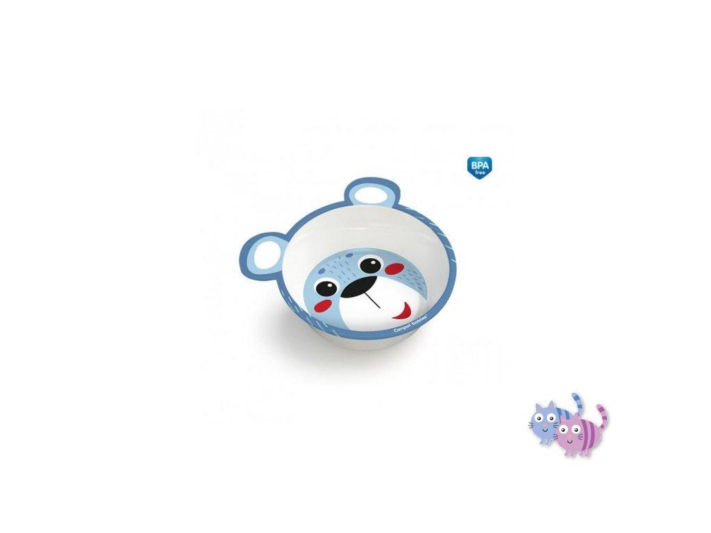 Canpol babies Melaminová miska protiskluzová s oušky HELLO LITTLE 490 ml modrá