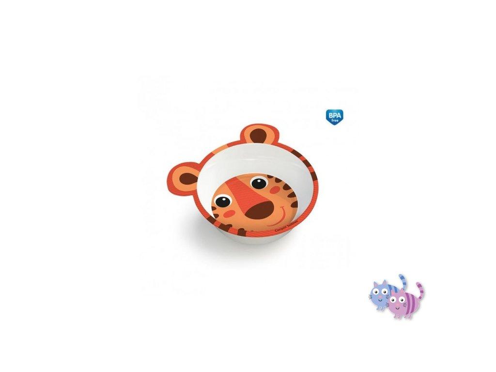 Canpol babies Melaminová miska protiskluzová s oušky HELLO LITTLE 490 ml oranžová