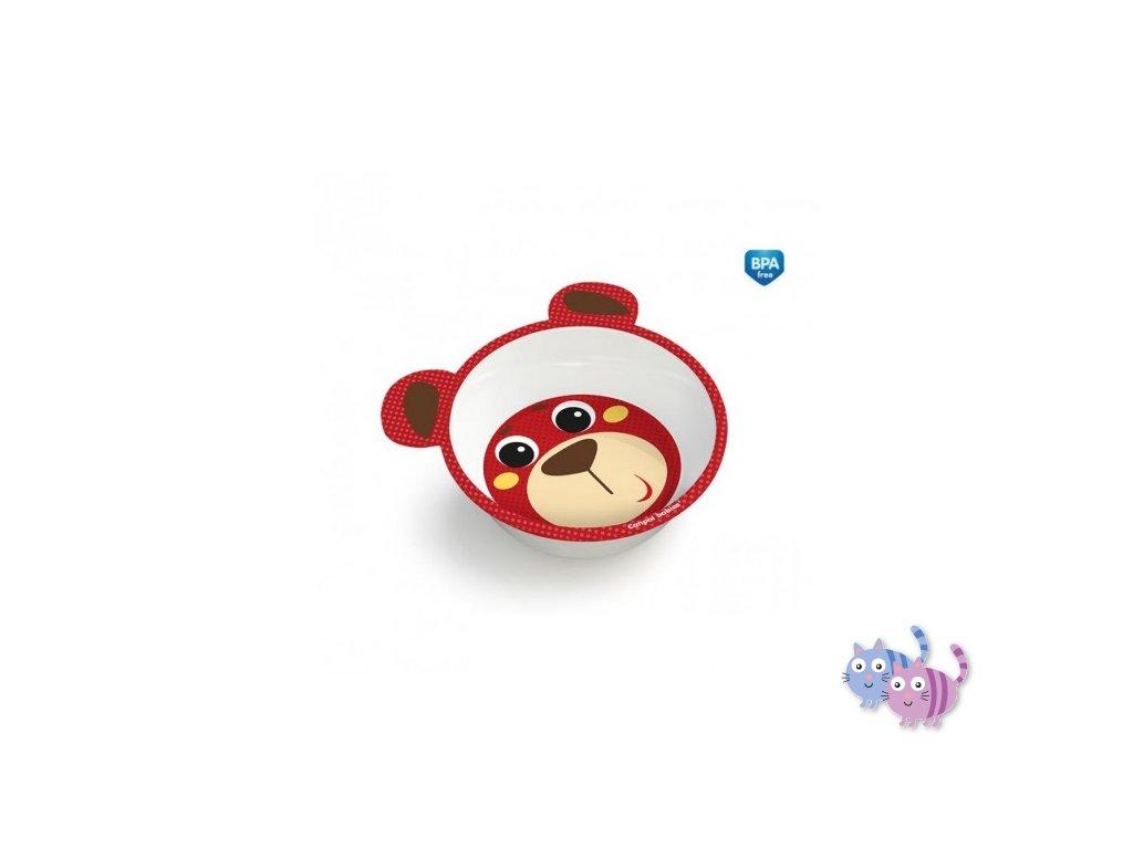 Canpol babies Melaminová miska protiskluzová s oušky HELLO LITTLE 490 ml červená 4/520_red