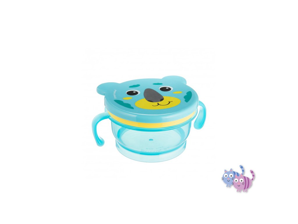 Canpol babies miska s víčkem a silikonovým otvorem HELLO LITTLE 200ml tyrkysová