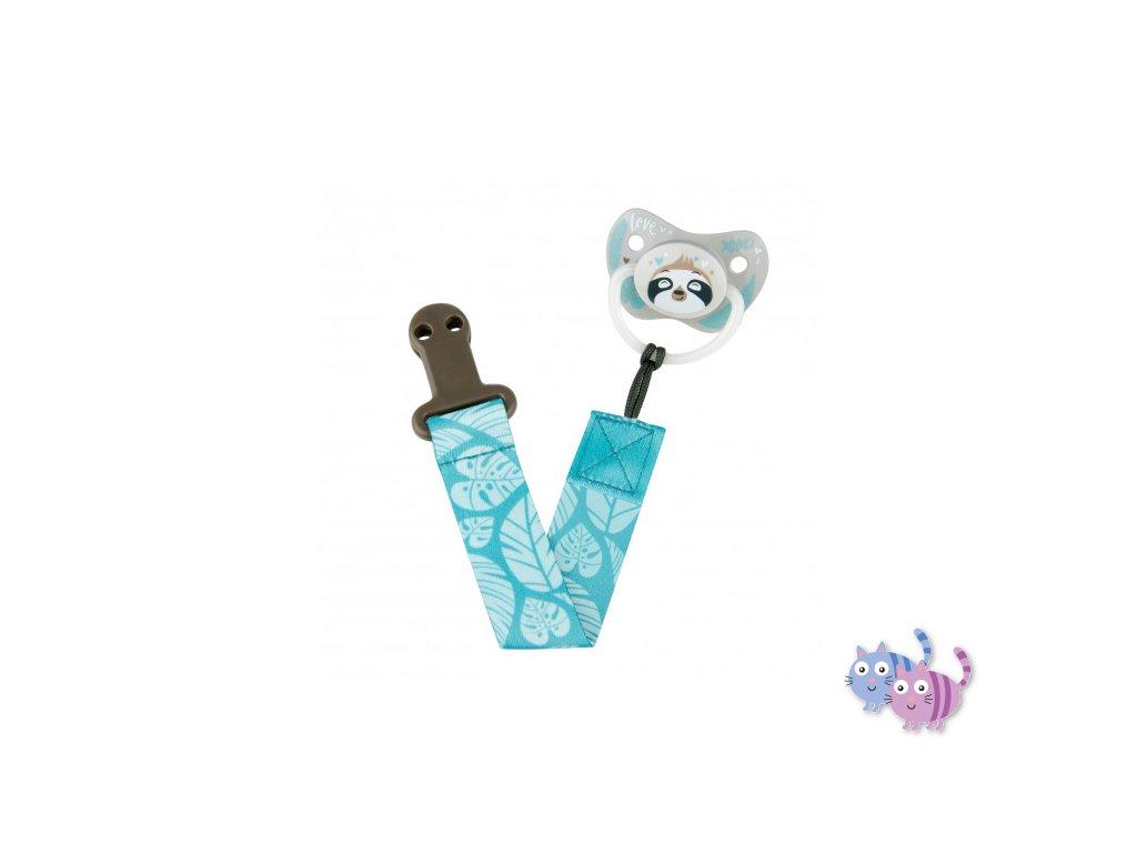 Canpol babies stužka na dudlík s klipem EXOTIC ANIMALS modrá