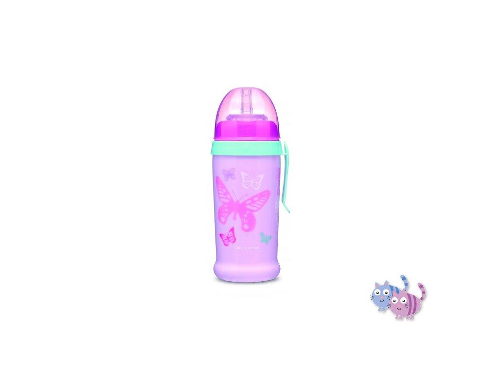 Canpol babies Sportovní láhev se silikonovou nevylévací slámkou MOTÝLEK 350 ml růžová