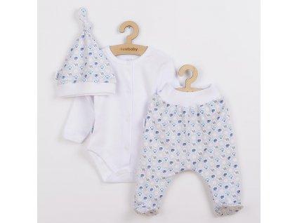 3-dílná bavlněná kojenecká souprava New Baby Kiddy bílo-modrá