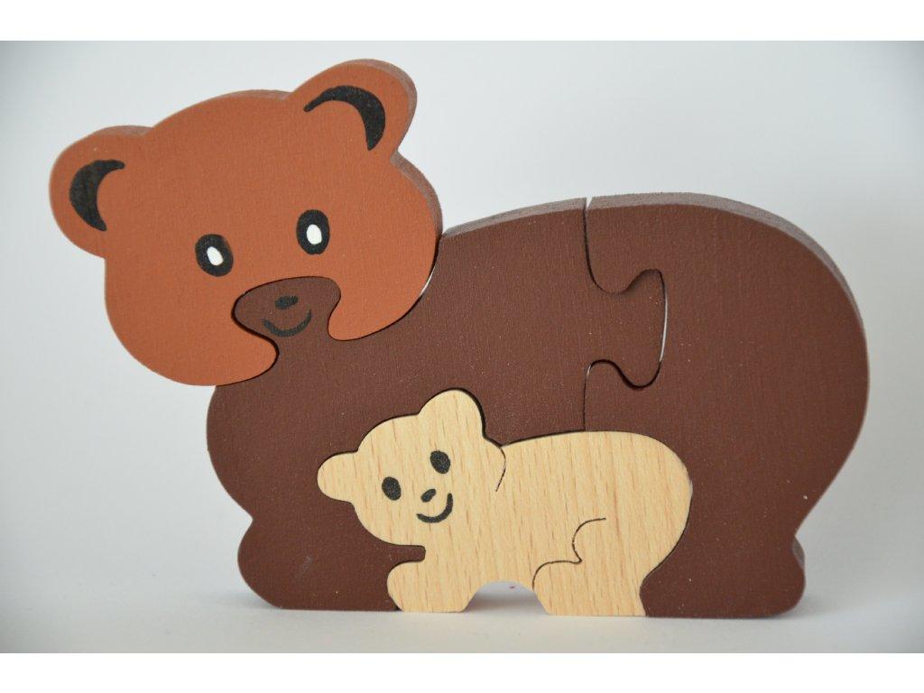 Dřevěné puzzle - medvědi