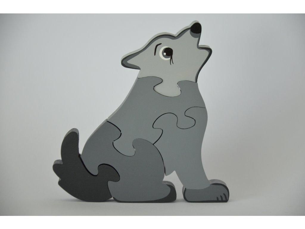 Dřevěné puzzle - vlk