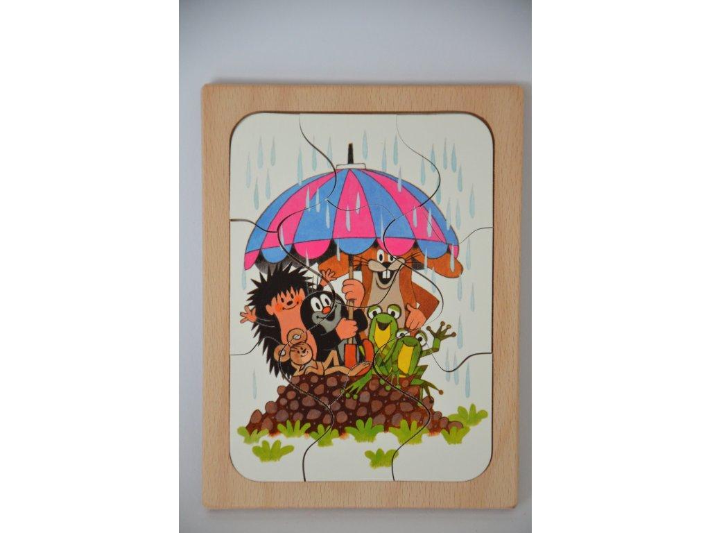 Dřevěné puzzle - KRTEK a déšť
