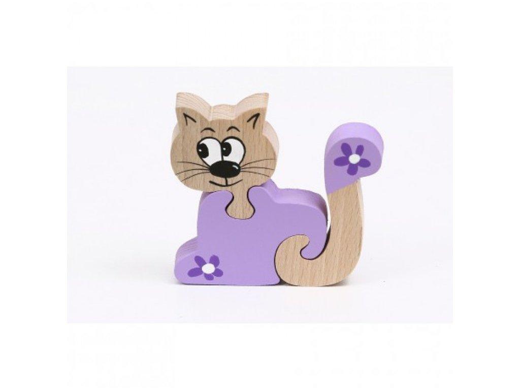 Dřevěné puzzle - kočka
