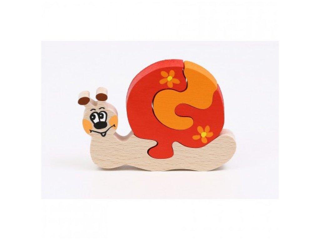 Dřevěné puzzle - šneček