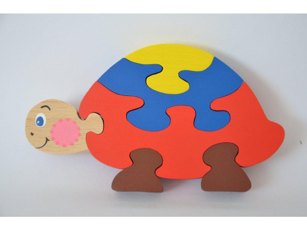Dřevěné puzzle - želva