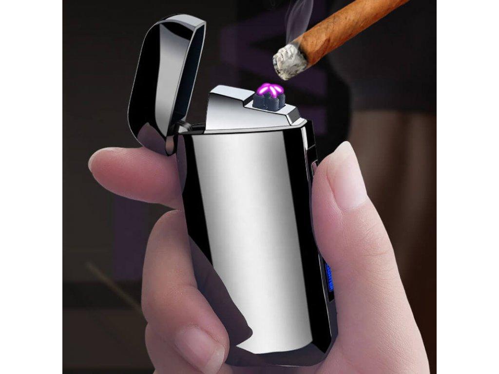 Fren Plazmový zapalovač USB ELEGANT strieborný - DynamicShop e62824d6e51