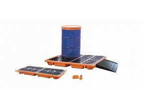 Záchytná paleta pod 4 sudy, oranžová (objem 250 l)