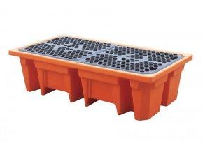 Záchytná paleta pod 2 sudy oranžová na 240 litrů
